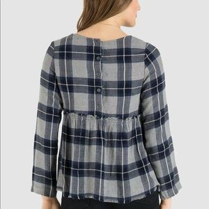 Cloth and Stone Button Back Plaid Babydoll Top
